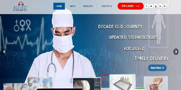Image Shows the Website Design of Allied Business Solutions that resembles the White and Blue color combination